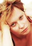 Portrait of sad redheaded woman Stock Photo