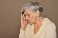 Portrait of sad senior woman Royalty Free Stock Images