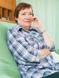 Portrait of sad senior woman Stock Images