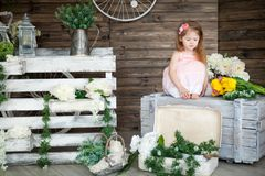Portrait of a small girl in a spring studio. Portrait of a sad small girl in a spring studio. Rustic decor royalty free stock images
