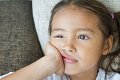 Portrait of sad and unhappy girl, showing negative feeling. Or expression Royalty Free Stock Images