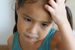 Portrait of sad and unhappy girl, showing negative feeling Royalty Free Stock Images