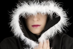 Portrait of sad woman in black cape artistic conversion Stock Photos