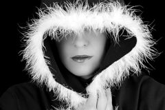 Portrait of sad woman in black cape black and white Stock Photo
