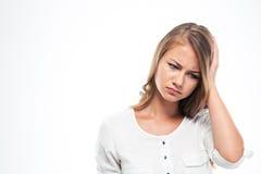 Portrait of a sad woman having headach Royalty Free Stock Photography