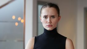 Portrait of Sad Woman in Office stock video