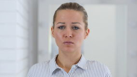 Portrait of Sad Woman in Office stock footage
