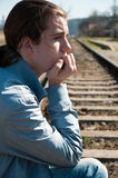 Portrait of sad young man Stock Photos