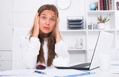 Portrait of sad young woman experiencing troubles Royalty Free Stock Photos
