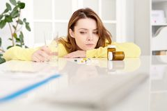 Woman Suffering from Illness royalty free stock image
