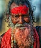 The portrait of Sadhu man. PUSHKAR, RAJASTHAN, INDIA - CIRCA NOV 2012: The portrait of Sadhu man. Close up shot royalty free stock photos