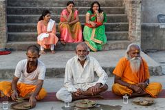 Portrait of Sadhus during their meal. JAIPUR, INDIA, October 27, 2017 : Portrait of Sadhus. A sadhu is a religious ascetic, mendicant or any holy person in Stock Photo