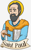 Portrait of Saint Paul Holding a Sword and Scrolls, Vector Illustration Royalty Free Stock Photos