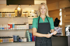 Portrait Of Sales Assistant In Beauty Product Shop stock photography