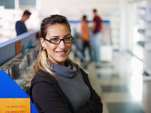 Portrait of salesgirl in cd store Royalty Free Stock Photos