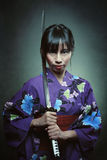Portrait of a samurai woman Royalty Free Stock Image