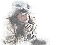 Portrait sans abri d'homme sur l'aquarelle de marche de rue image libre de droits