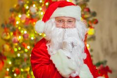 Portrait Santa Claus on background of sparkling firtree royalty free stock images