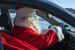 Portrait of Santa Claus in the car Stock Image