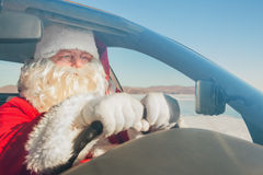 Portrait of Santa Claus in the car Royalty Free Stock Photography