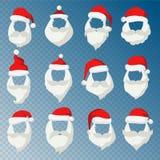 Portrait Santa Claus face cut mask silhouette. Santa face, mustache and santa red hat transparency.Santa hat.New Year 2016 santa face.Santa head vector. Santa Royalty Free Stock Images