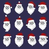 Portrait Santa Claus face cut mask silhouette Stock Images