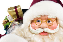 Portrait of Santa Claus face and presents Stock Photo