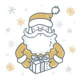 Portrait of Santa Claus with gift the background of snowflakes in gold - silver tones vector illustration