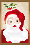 Portrait of Santa Claus. Hand drawn portrait of Santa Claus under mistletoe and holly on glittering background in retro look royalty free illustration