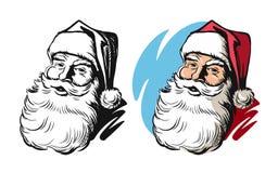 Portrait of Santa Claus head. Vector hand drawn Royalty Free Stock Photos