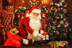Portrait of a Santa Claus in room royalty free stock photo