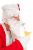 Portrait Santa Claus with tropical drink royalty free stock images
