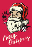 Portrait Santa Claus. Vector illustration on red Royalty Free Stock Photo