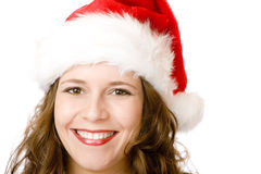 Portrait Santa Claus woman with Christmas fur cap Royalty Free Stock Images