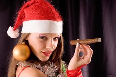 Portrait Santa Girl Stock Images