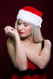 Portrait of a santa girl with closed eyes. Royalty Free Stock Image