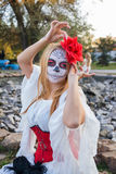 Portrait of Santa Muerte. Portrait of a young girl in the image of the Mexican Santa Muerte Royalty Free Stock Photography