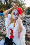 Portrait of Santa Muerte. Portrait of a young girl in the image of the Mexican Santa Muerte Stock Images