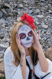 Portrait of Santa Muerte. Portrait of a young girl in the image of the Mexican Santa Muerte Royalty Free Stock Photo