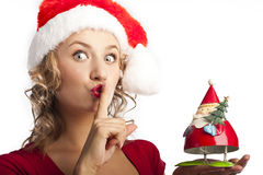 Portrait of santa woman over white background Stock Photo