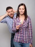 Portrait of scared boyfriend after pregnancy test resul royalty free stock photos