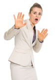 Portrait of scared business woman Royalty Free Stock Photo