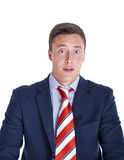 Portrait of a scared businessman Stock Images