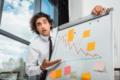 portrait of scared businessman pointing at white board with graphic and empty notes royalty free stock photo