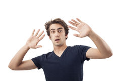 Portrait of scared man Stock Images