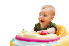 Portrait of scared screaming baby. Isolated on white Stock Images