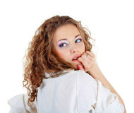 Portrait of the scared woman Royalty Free Stock Photos