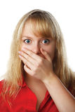 Portrait of scared woman covering mouth with hand. Isolated on white background Royalty Free Stock Photography