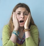Portrait of scared young woman. Portrait of scared young  woman stock photos