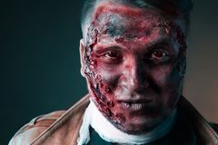 Portrait of scary bad zombie at  night Royalty Free Stock Photo